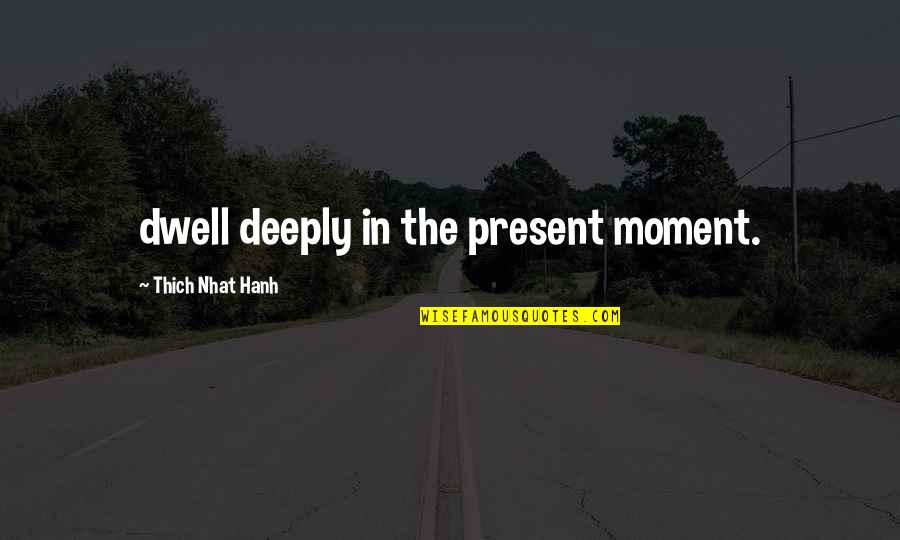 Hanh's Quotes By Thich Nhat Hanh: dwell deeply in the present moment.