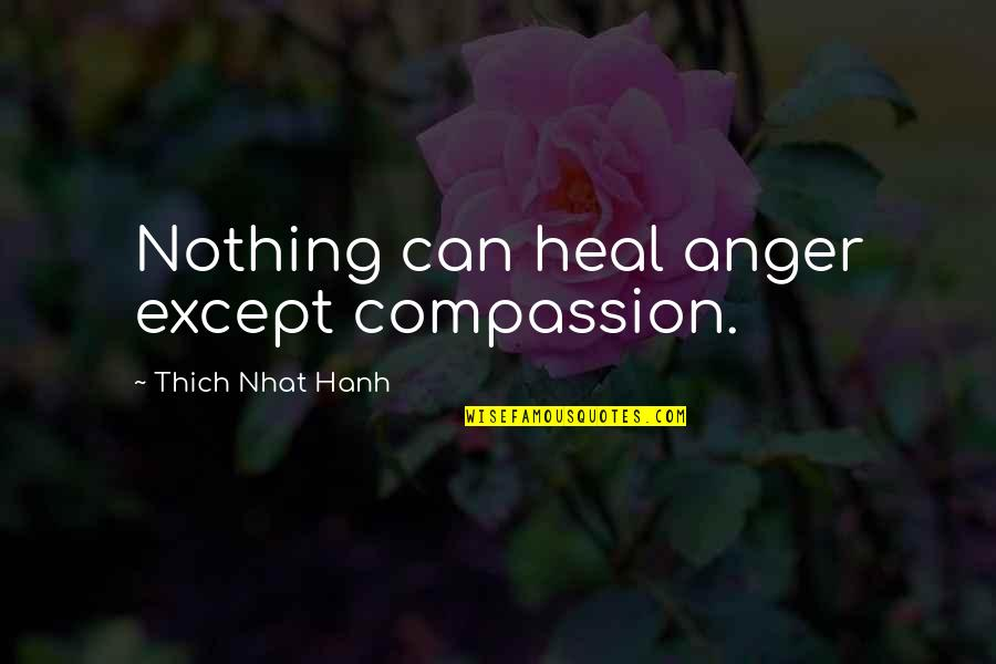 Hanh's Quotes By Thich Nhat Hanh: Nothing can heal anger except compassion.