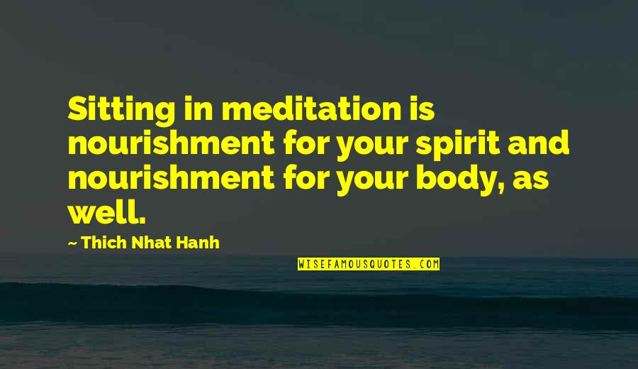 Hanh's Quotes By Thich Nhat Hanh: Sitting in meditation is nourishment for your spirit