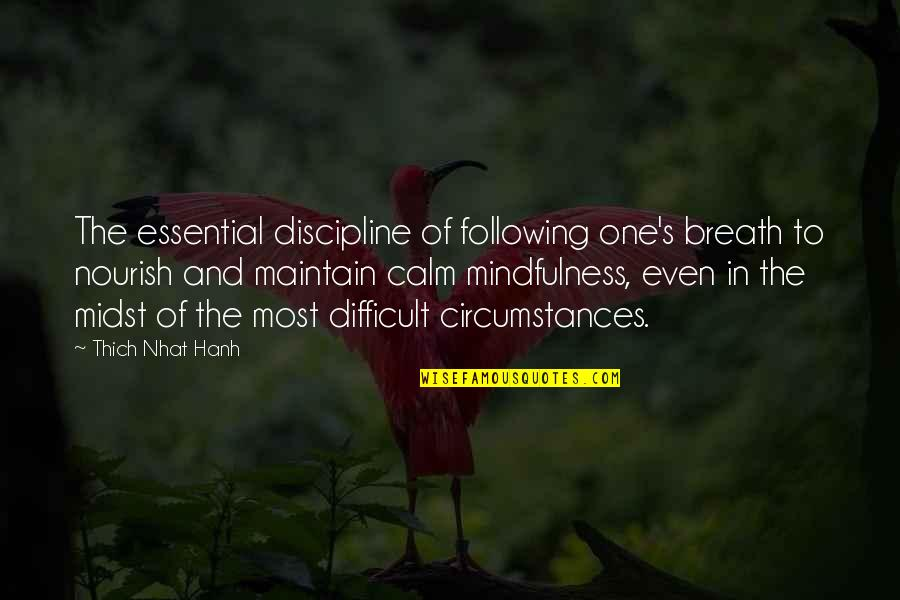 Hanh's Quotes By Thich Nhat Hanh: The essential discipline of following one's breath to