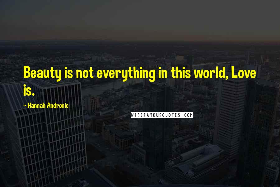 Hannah Andronic quotes: Beauty is not everything in this world, Love is.