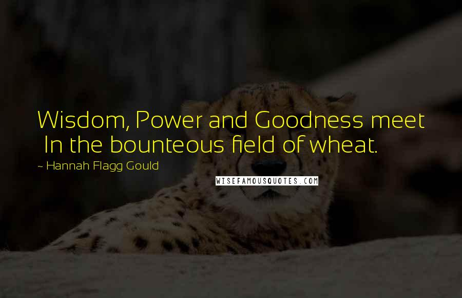Hannah Flagg Gould quotes: Wisdom, Power and Goodness meet In the bounteous field of wheat.