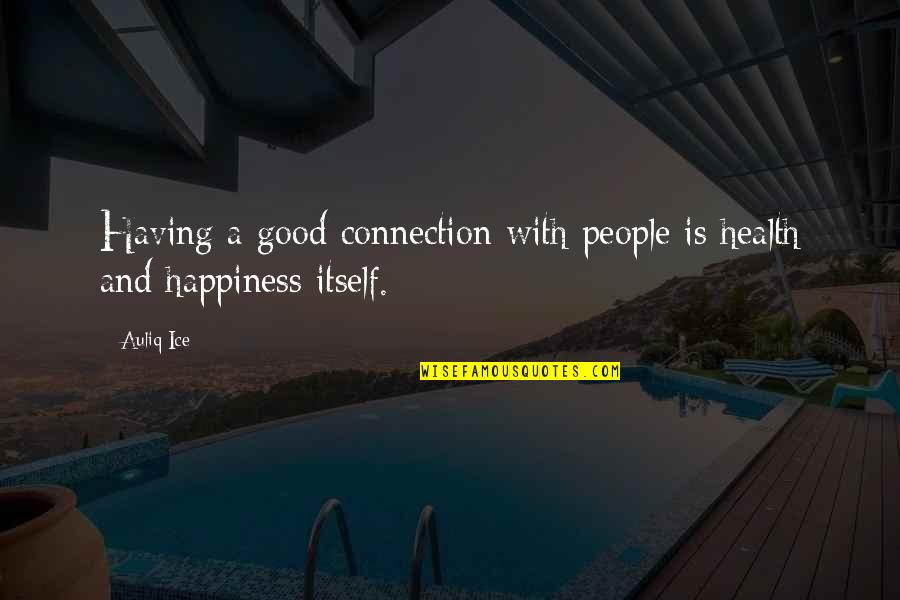 Happiness And Friendship Quotes By Auliq Ice: Having a good connection with people is health