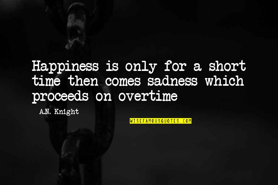 Happiness Comes Quotes By A.N. Knight: Happiness is only for a short time then