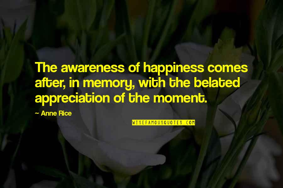 Happiness Comes Quotes By Anne Rice: The awareness of happiness comes after, in memory,