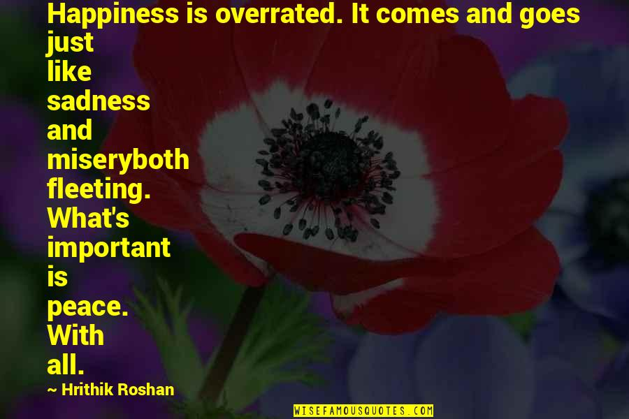Happiness Comes Quotes By Hrithik Roshan: Happiness is overrated. It comes and goes just