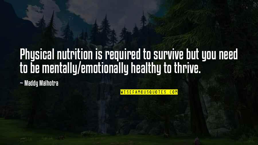 Happiness Is Success Quotes By Maddy Malhotra: Physical nutrition is required to survive but you