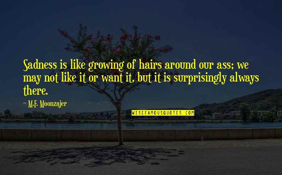 Happiness Then Sadness Quotes By M.F. Moonzajer: Sadness is like growing of hairs around our