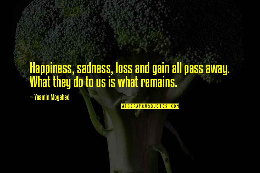 Happiness To Sadness Quotes By Yasmin Mogahed: Happiness, sadness, loss and gain all pass away.