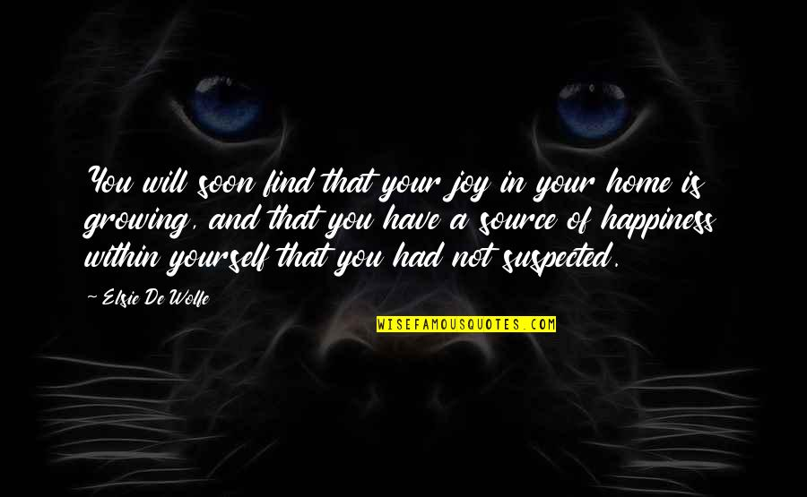 Happiness Will Find You Quotes By Elsie De Wolfe: You will soon find that your joy in