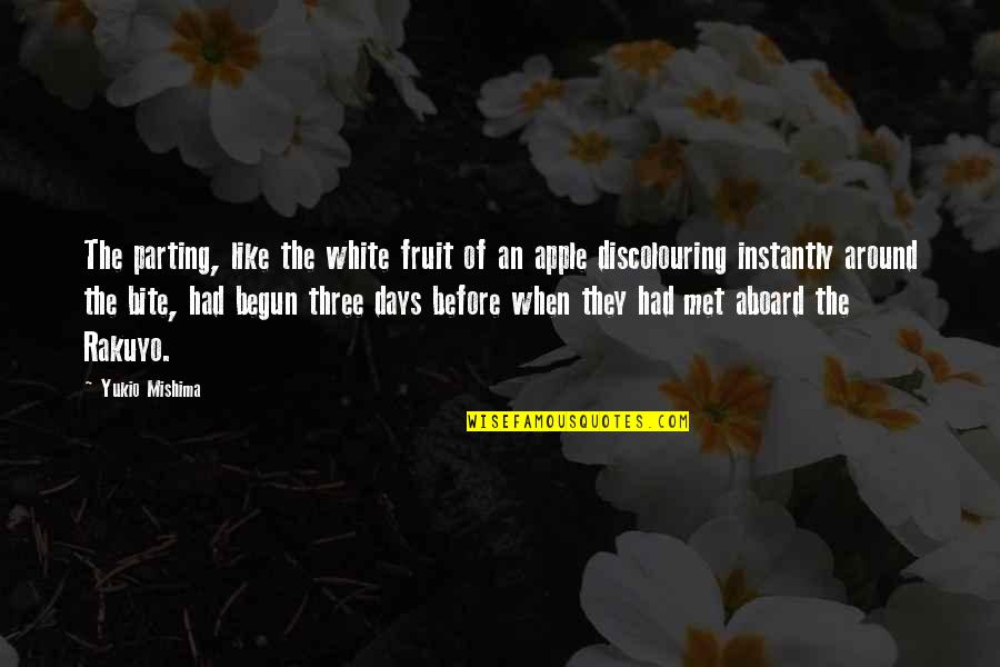 Happy And Positive Thoughts Quotes By Yukio Mishima: The parting, like the white fruit of an