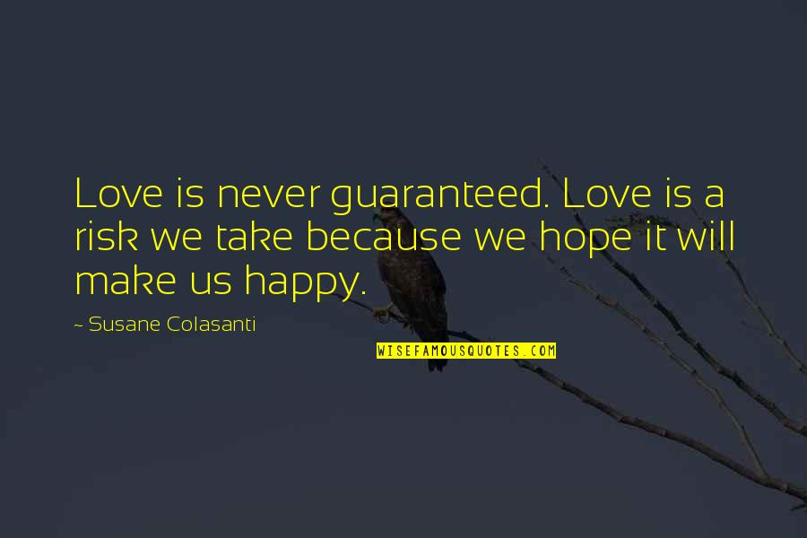 Happy Because Of Love Quotes By Susane Colasanti: Love is never guaranteed. Love is a risk