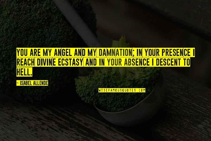 Happy I Saw You Quotes By Isabel Allende: You are my angel and my damnation; in