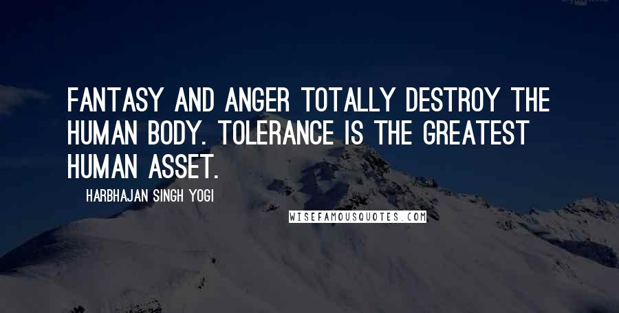 Harbhajan Singh Yogi quotes: Fantasy and anger totally destroy the human body. Tolerance is the greatest human asset.