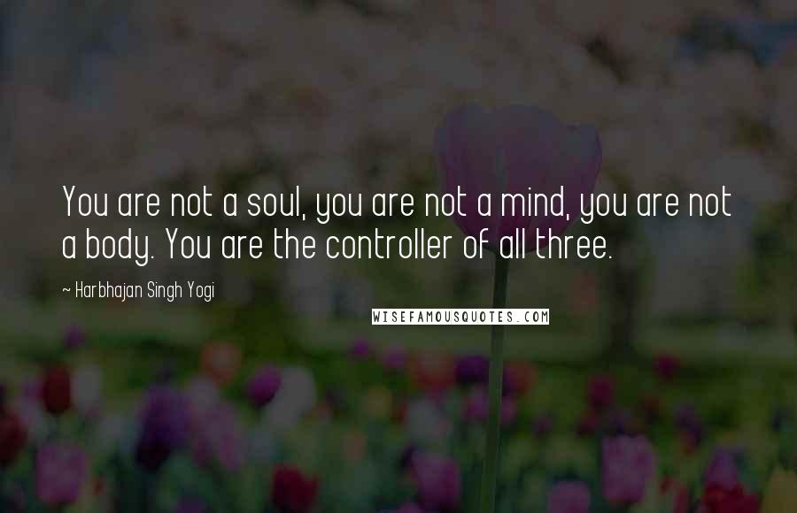 Harbhajan Singh Yogi quotes: You are not a soul, you are not a mind, you are not a body. You are the controller of all three.
