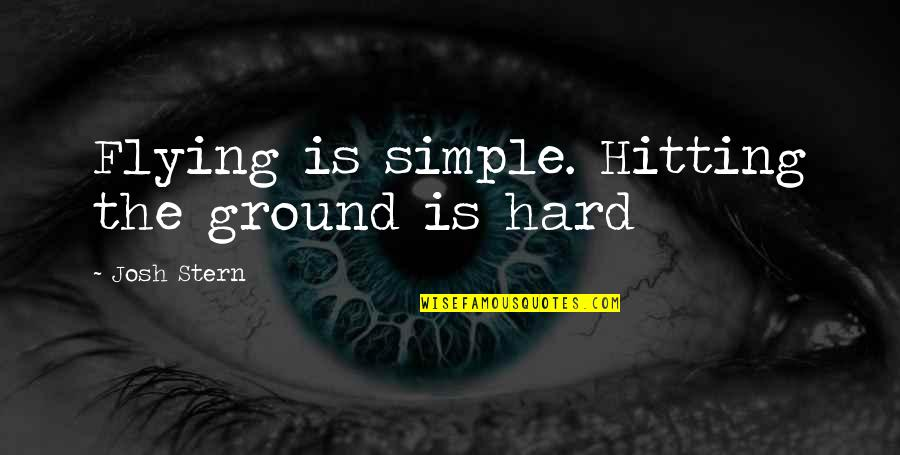 Hard Hitting Quotes By Josh Stern: Flying is simple. Hitting the ground is hard