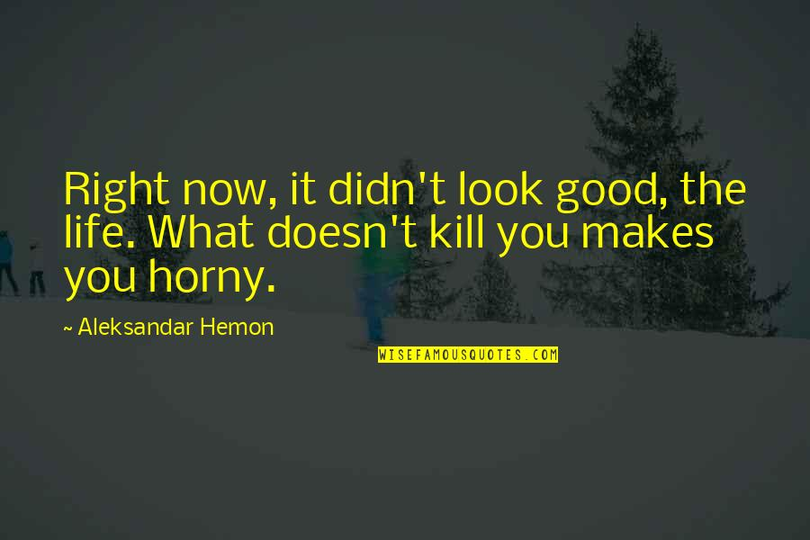 Hard Life Quotes By Aleksandar Hemon: Right now, it didn't look good, the life.