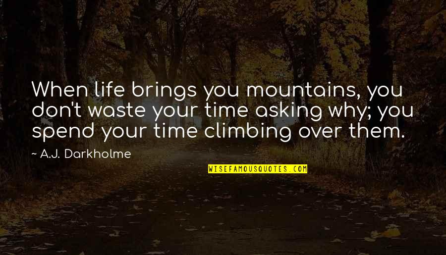 Hard Time Of Life Quotes By A.J. Darkholme: When life brings you mountains, you don't waste