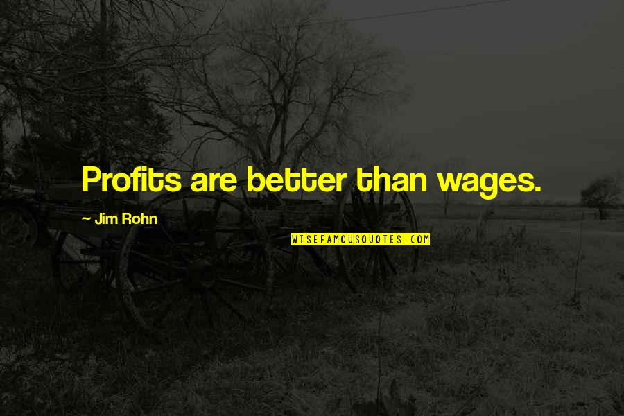Hard Times And Success Quotes By Jim Rohn: Profits are better than wages.