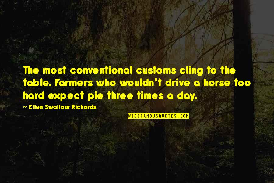 Hard To Swallow Quotes By Ellen Swallow Richards: The most conventional customs cling to the table.