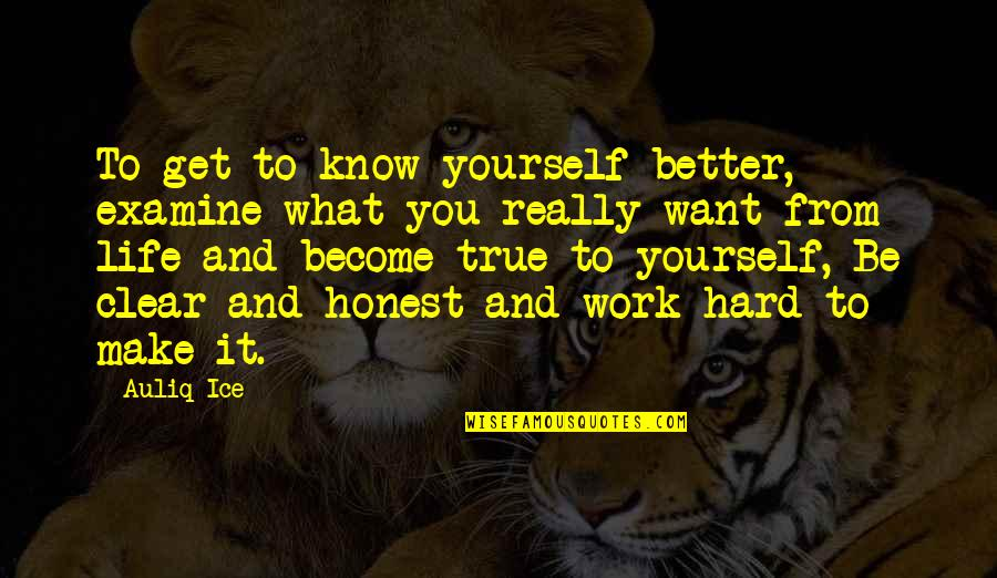 Hard Work And Success In Life Quotes By Auliq Ice: To get to know yourself better, examine what