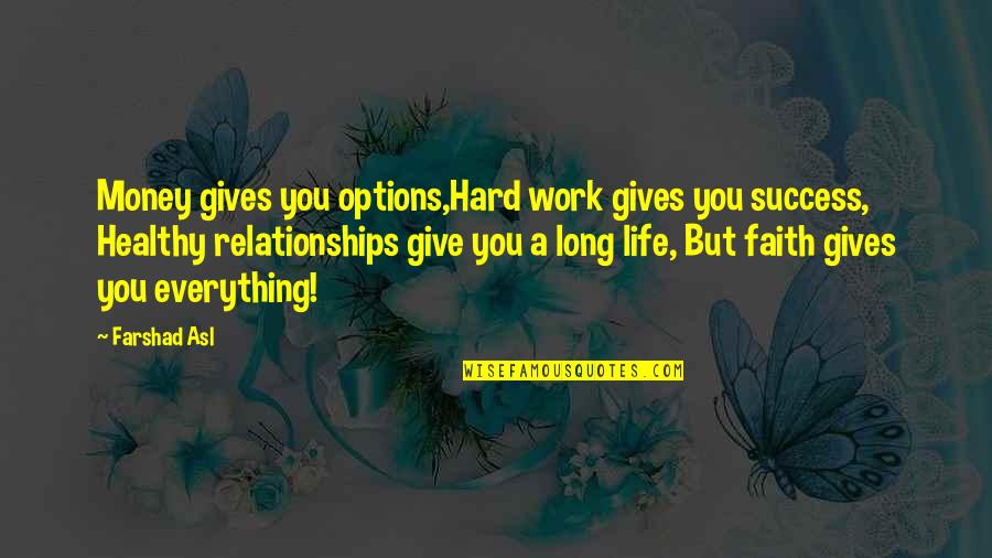 Hard Work And Success In Life Quotes By Farshad Asl: Money gives you options,Hard work gives you success,