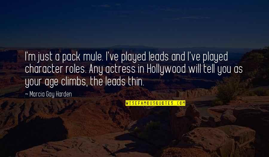 Harden Up Quotes By Marcia Gay Harden: I'm just a pack mule. I've played leads