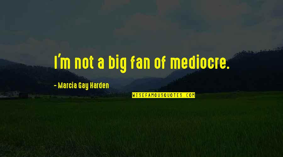 Harden Up Quotes By Marcia Gay Harden: I'm not a big fan of mediocre.