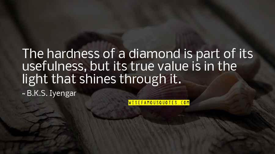 Hardness Quotes By B.K.S. Iyengar: The hardness of a diamond is part of