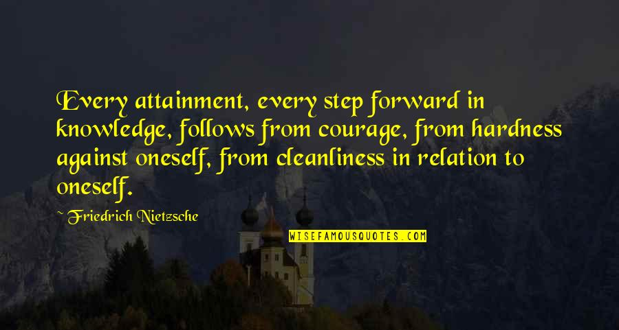 Hardness Quotes By Friedrich Nietzsche: Every attainment, every step forward in knowledge, follows