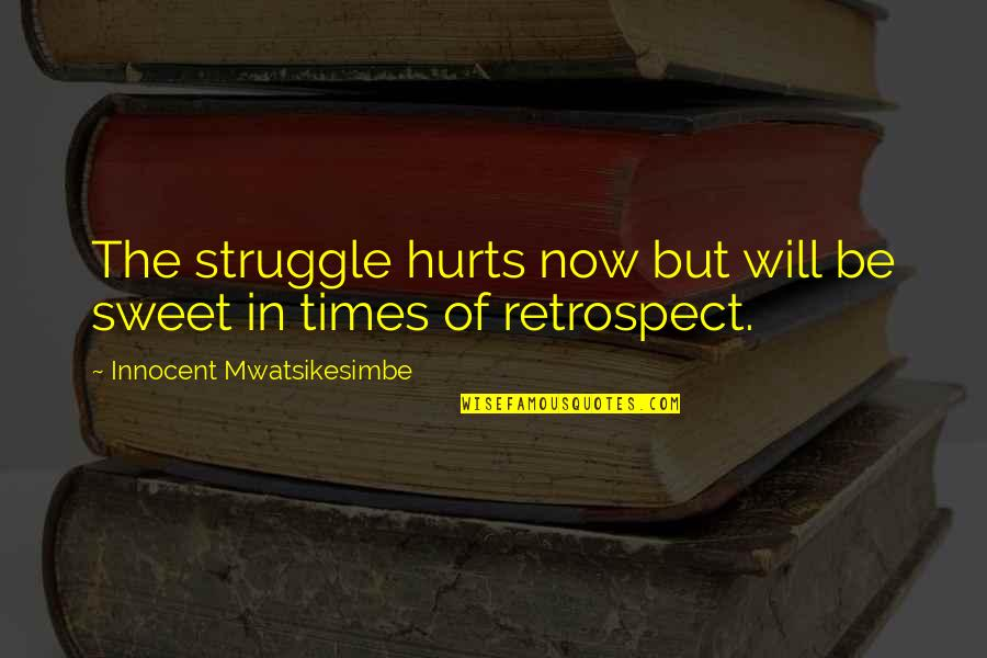Hardship And Struggle Quotes By Innocent Mwatsikesimbe: The struggle hurts now but will be sweet