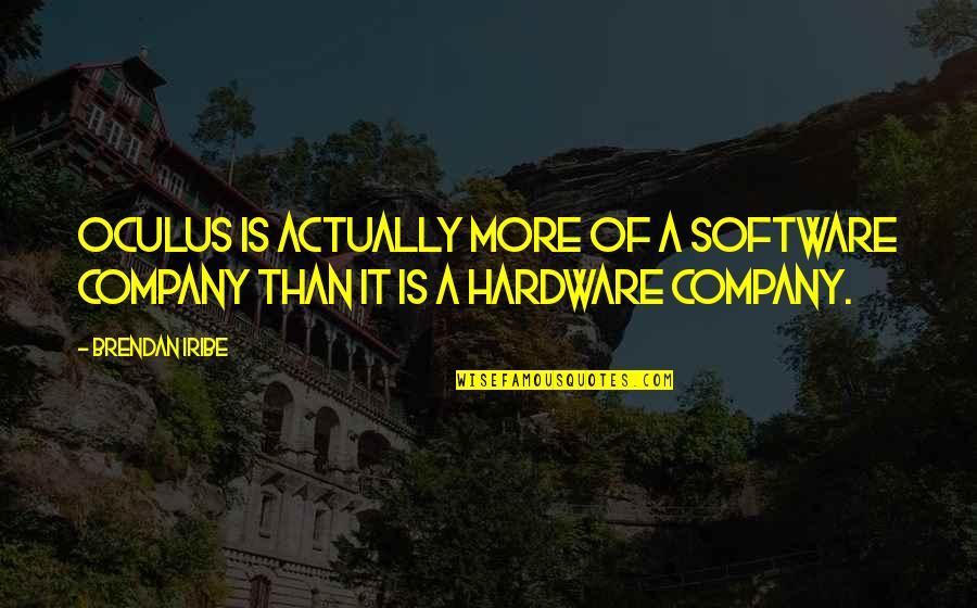 Hardware And Software Quotes By Brendan Iribe: Oculus is actually more of a software company