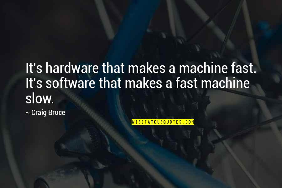 Hardware And Software Quotes By Craig Bruce: It's hardware that makes a machine fast. It's