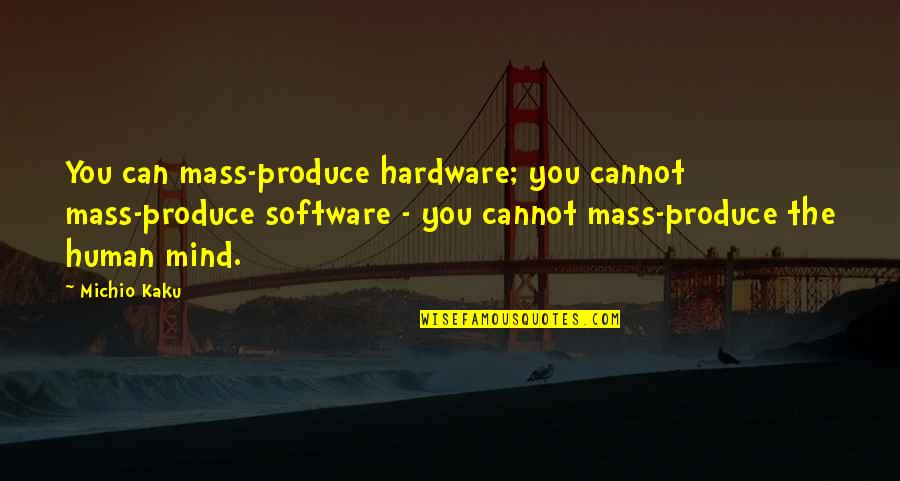 Hardware And Software Quotes By Michio Kaku: You can mass-produce hardware; you cannot mass-produce software