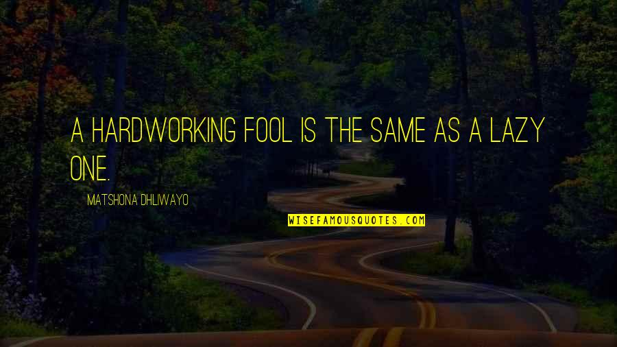 Hardworking Quotes By Matshona Dhliwayo: A hardworking fool is the same as a