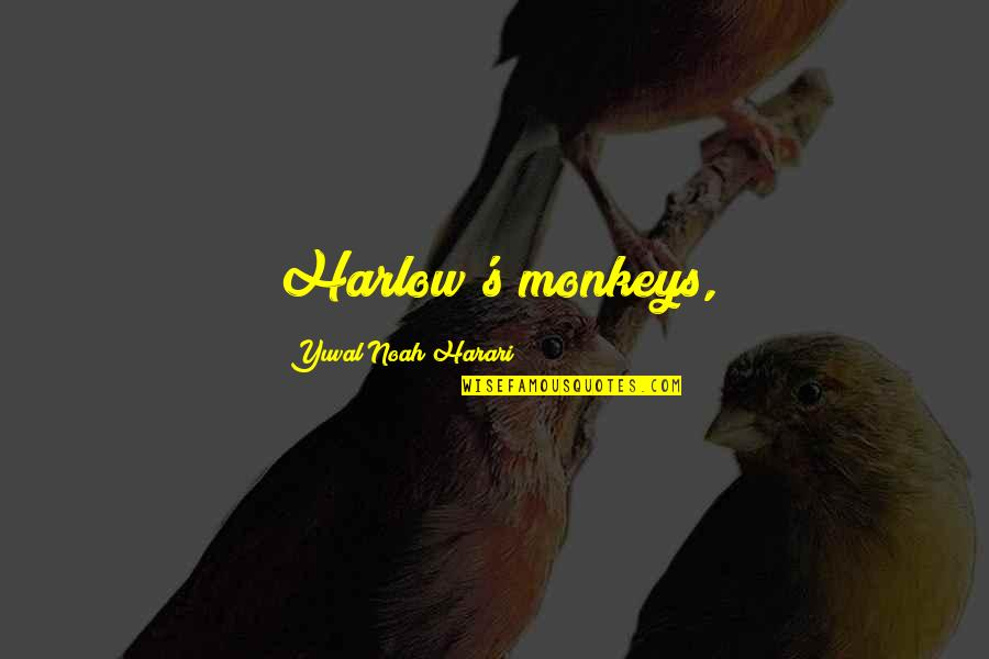 Harlow Quotes By Yuval Noah Harari: Harlow's monkeys,