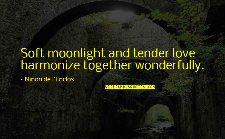 Harmonize Quotes By Ninon De L'Enclos: Soft moonlight and tender love harmonize together wonderfully.