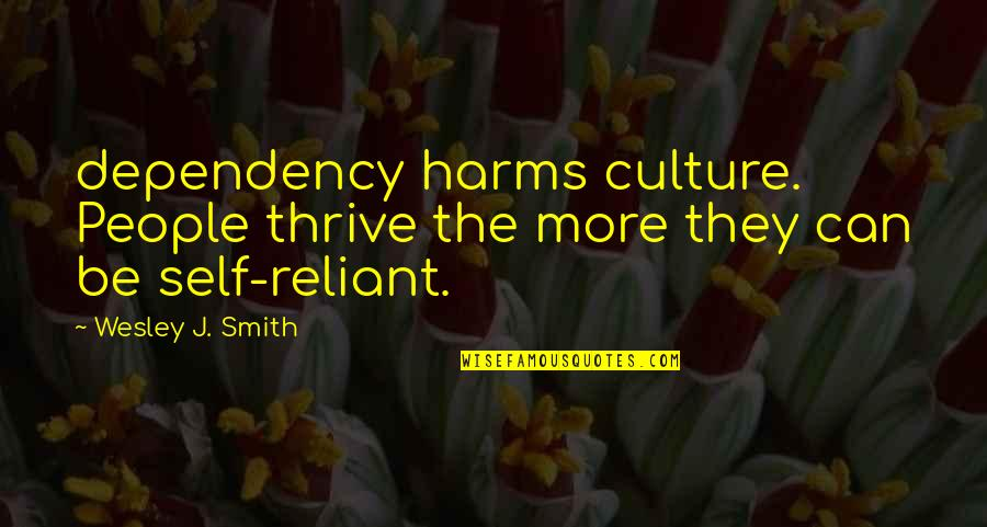 Harms Quotes By Wesley J. Smith: dependency harms culture. People thrive the more they