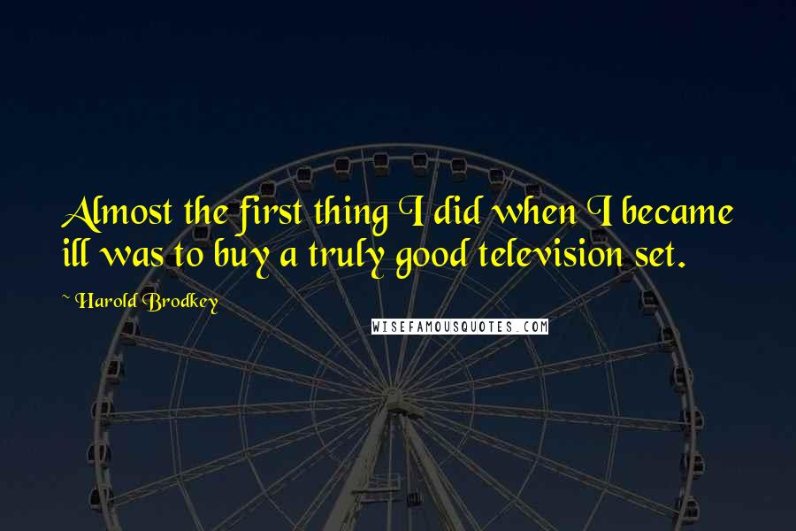 Harold Brodkey quotes: Almost the first thing I did when I became ill was to buy a truly good television set.
