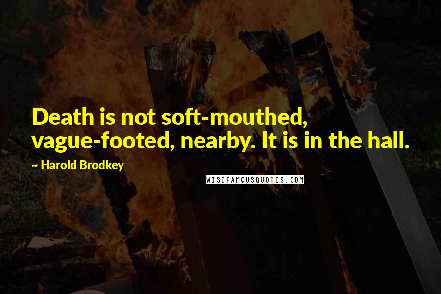 Harold Brodkey quotes: Death is not soft-mouthed, vague-footed, nearby. It is in the hall.