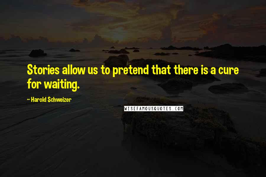 Harold Schweizer quotes: Stories allow us to pretend that there is a cure for waiting.