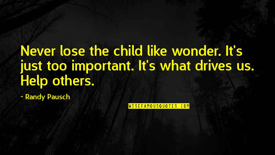 Harry Braverman Quotes By Randy Pausch: Never lose the child like wonder. It's just