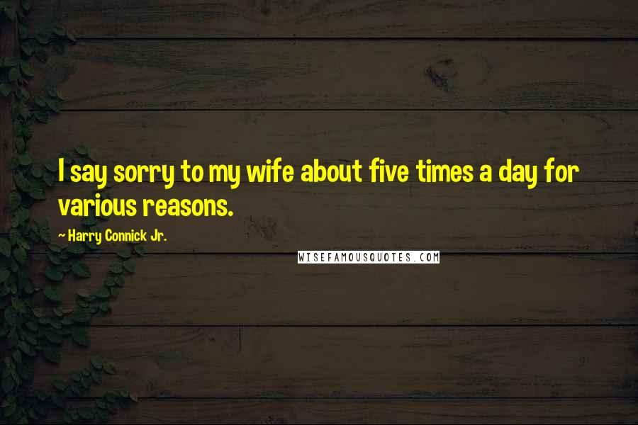 Harry Connick Jr. quotes: I say sorry to my wife about five times a day for various reasons.