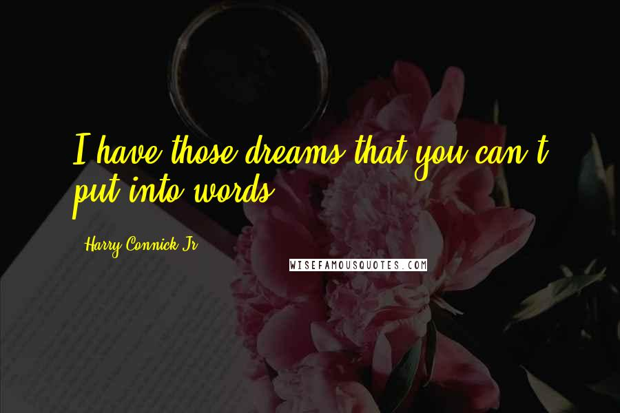 Harry Connick Jr. quotes: I have those dreams that you can't put into words.