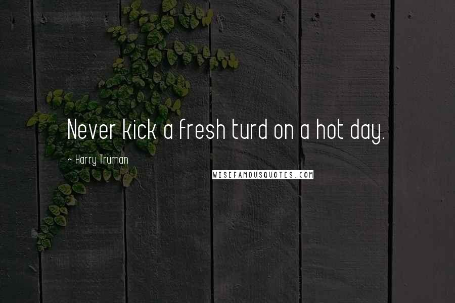 Harry Truman quotes: Never kick a fresh turd on a hot day.