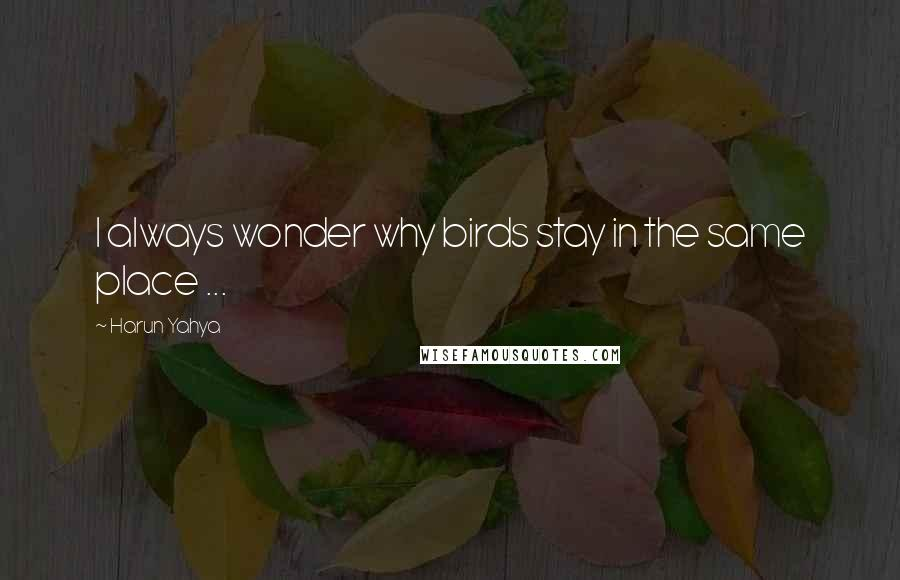 Harun Yahya quotes: I always wonder why birds stay in the same place ...