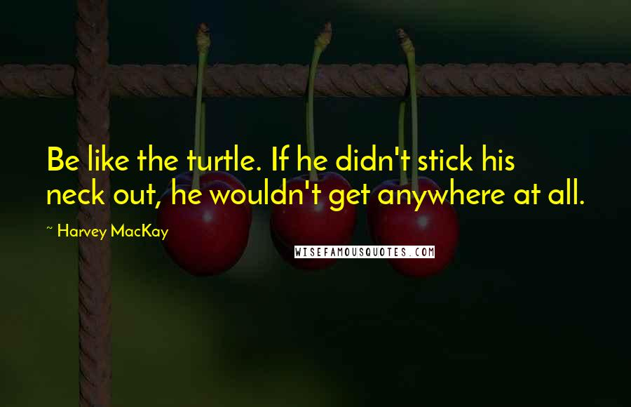 Harvey MacKay quotes: Be like the turtle. If he didn't stick his neck out, he wouldn't get anywhere at all.