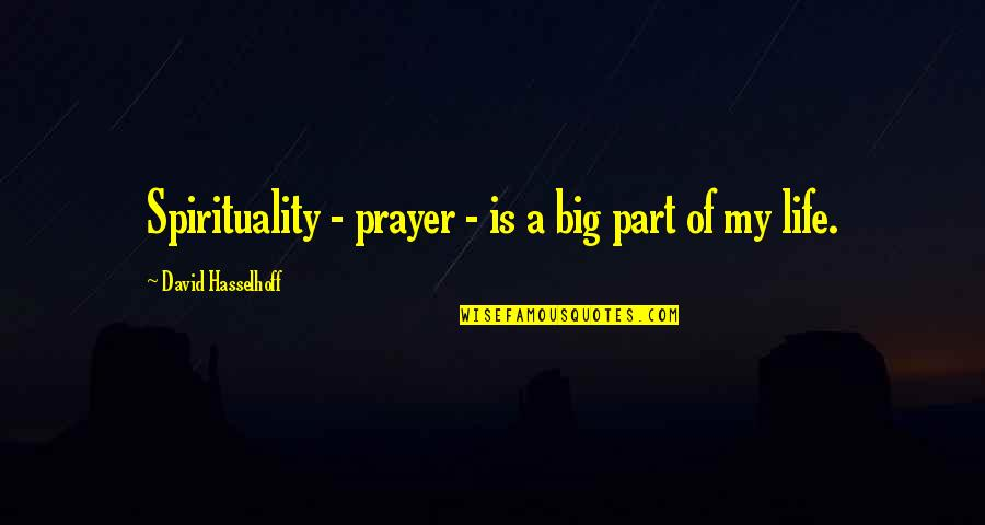Hasselhoff Quotes By David Hasselhoff: Spirituality - prayer - is a big part