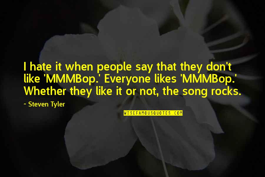 Hate Everyone Quotes By Steven Tyler: I hate it when people say that they