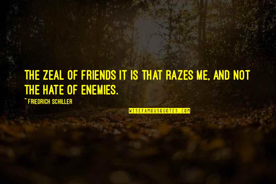 Hate Me Not Quotes By Friedrich Schiller: The zeal of friends it is that razes
